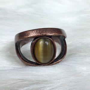Vintage Copper Modernist Cats Eye Ring